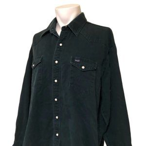 WRANGLER Western Wear Green Snap Button Down